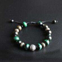 Al por mayor 10mm Cuentas Cobra Verde piedra de ojo y obsidiana pulsera con seis palabras verdaderas encanto tibetano buddhim joyería hecha a mano unisex
