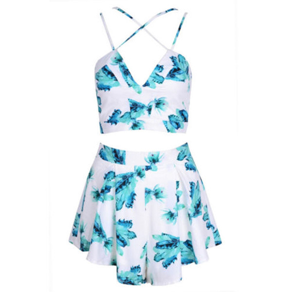 a563f22b193 Women Jumpsuits Green V Neck Spaghetti Strap Backless Rompers Floral  Bodysuit 2 Pieces Set co-ords suit Playsuit overalls