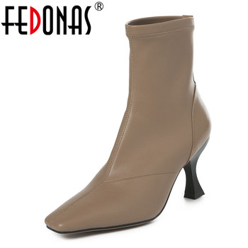 FEDONAS 2020 Women Strange High Heels Ankle Boots Autumn Winter Keep Warm Riding Boots Genuine Leather Slip-on Party Shoes Woman