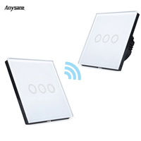 3 CH Wireless Smart Remote Control Switch 433mhz RF Smart Controle Remoto Plug Touch Wall Mounting