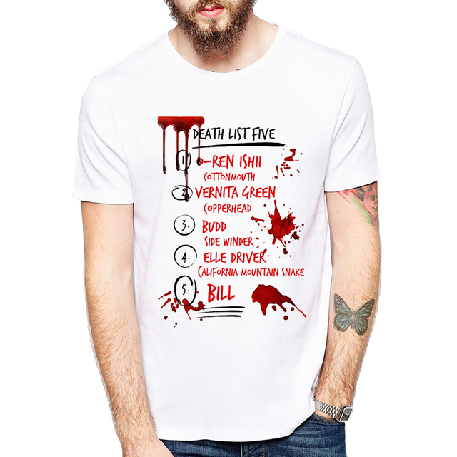 0c8c6af11 2019 Funny T Shirt Kill Bill Death List Five Men Comfortable Casual Letters Tee  Shirt Homme