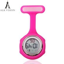 Цифровой силикон Медсестра часы кармашек для часов Часы Доктор Медсестры часы брошь лацкан медицинские часы для медсестры Кварц с зажимом ALK