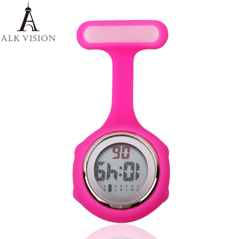 2017 Digital Silicone Nurse Watch Fob Pocket Watch Doctor Nurse Timepiece Brooch Lapel Medical Nurse Watch Quartz With Clip ALK