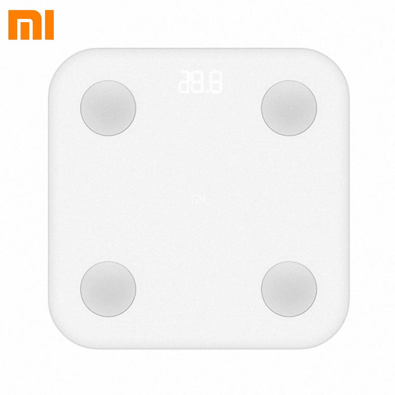 Original Xiaomi Mi Smart Body Fat Scale 2 Mifit APP & Body Composition Monitor With Hidden LED Display And Big Feet Pad By DHL y9000 smart body fat scale digital bathroom scale