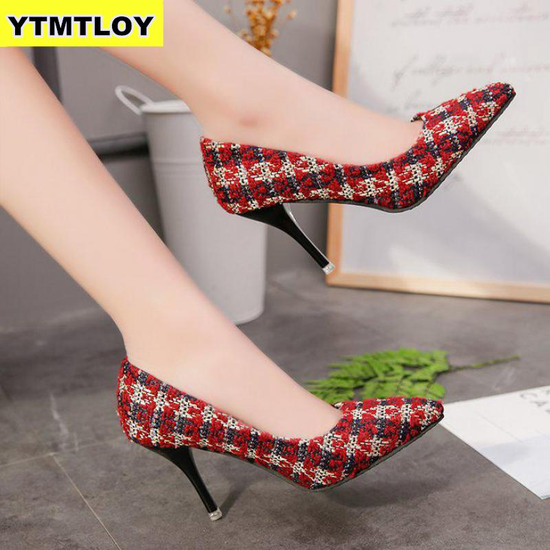 2019 Sexy Women Pumps High Heels Fashion Party Pumps Women Shoes Pointed Toe Spot Ladies Shoes Lattice Luxury Heels Wedding