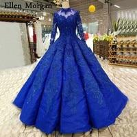 Королевский синий одежда с длинным рукавом свадебные платья 2018 для Для женщин на шнуровке Высокая шея этаж Длина Кружева жемчуг Бальные пла