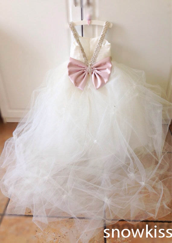 White/ivory pleated flower girl dresses with crystals lovely backless tulle ball gowns for wedding occasion baby evening frocksWhite/ivory pleated flower girl dresses with crystals lovely backless tulle ball gowns for wedding occasion baby evening frocks