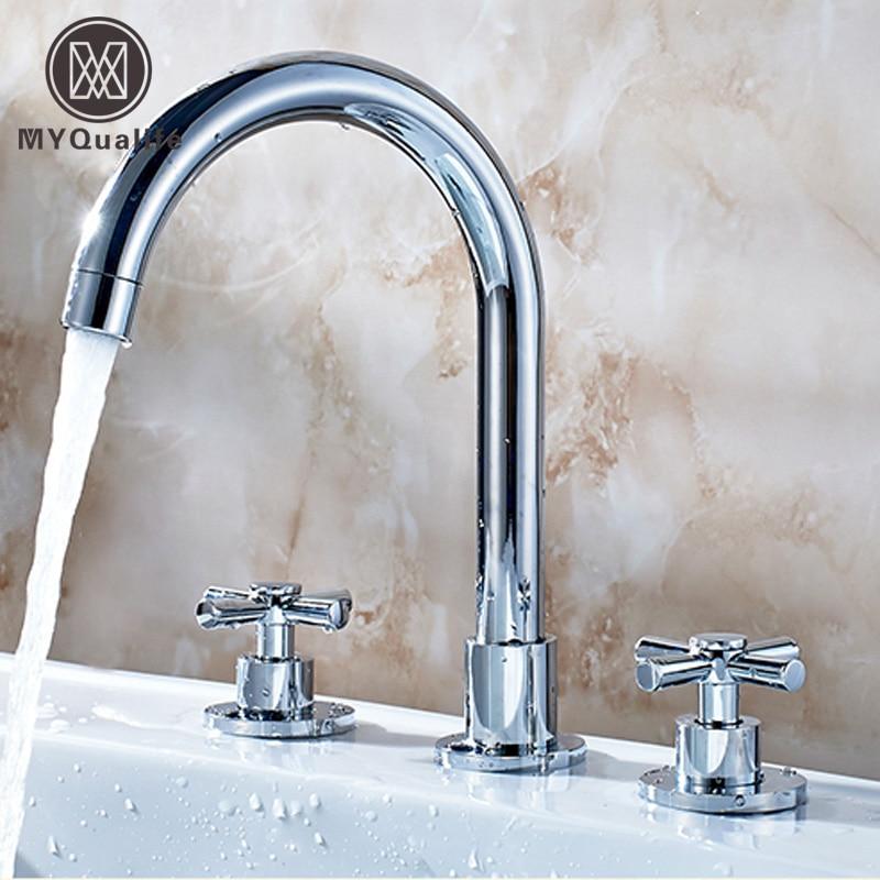 цена на Deck Mount Widespread Bathroom Sink Mixer Faucet Double Handles Basin Faucet Chrome Finish