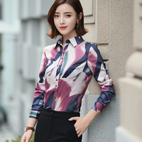 Women Shirt High Quality Wine Purple Print collor Long Sleeve Blouse Office Work Wear