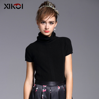 XIKOI Women S Short Sleeve Turtleneck Warm Black Winter Autumn Real Pure 100 Cashmere Knitted Sweater