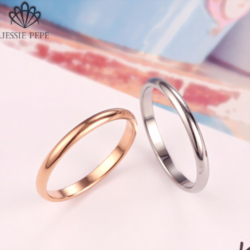 Jessiepepe  Titanium  Simple Wedding Stainless Steel Rings For Man Or Woman Christmas Gift # TR0002
