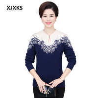 XJXKS Women High Quality Winter Sweater Mink Cashmere Chinese Style Female Long Sleeve Soft S 3XL Plus Size Pullover 99538