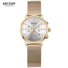 Megir Для женщин хронограф светящиеся стрелки индикатор Даты Нержавеющая сталь сетка ремень кварцевые наручные Часы леди розового золота M2011L-1