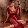 Frauen Nachtwäsche 5 farben Hohe Qualität Sexy Lingerie Net Gaze Spitze Stickerei Sheer Lange Nacht Kleid Nachthemden Sleep