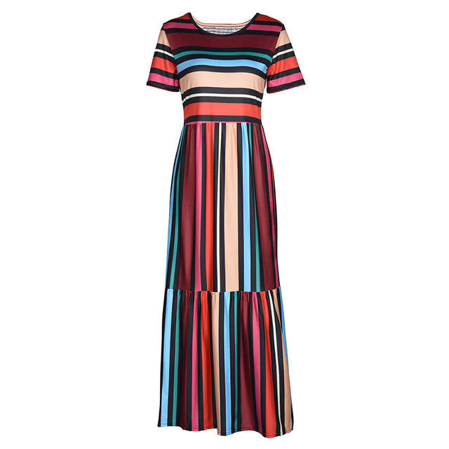 BEFORW 2019 Harajuku Casual Dress Women Clothes Fashion Rainbow Stripe Long Dress Vestidos Female Summer Beach Maxi Dresses