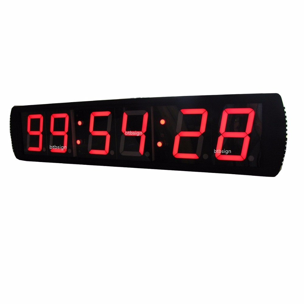 4 39 39 6digits jumbo hh mm ss led countdown wall clock led race clock for marathon running sport. Black Bedroom Furniture Sets. Home Design Ideas