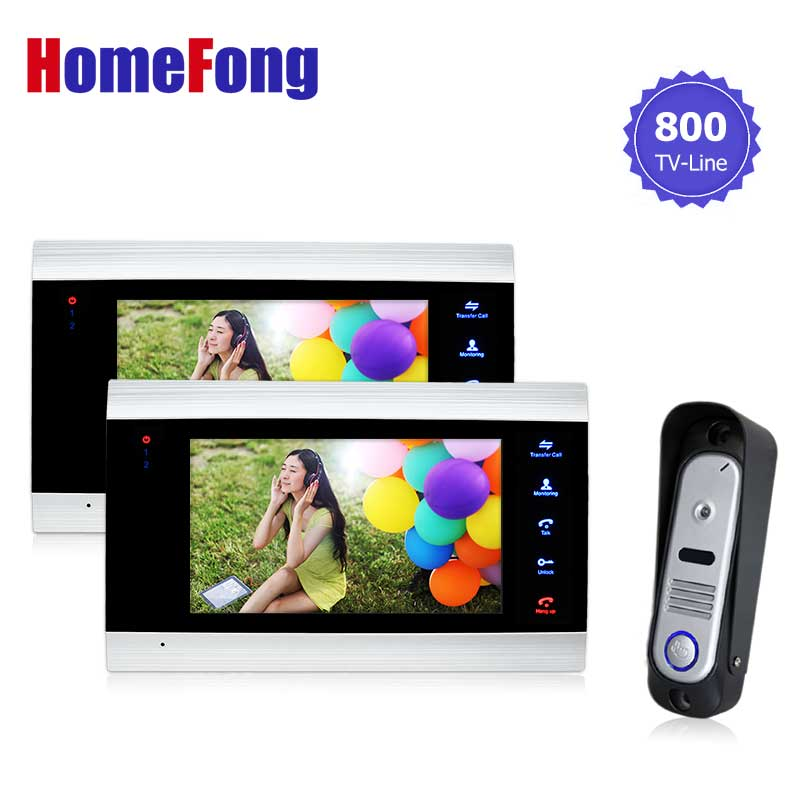 Homefong 7 Inch LCD Screen 800TVL Video Door Intercom Phone System Video Doorbell Camera HD Door Viewer 2 Monitor+1 Camera 7 inch lcd video door phone intercom doorbell rfid carder 1 camera 2 monitor with door button href