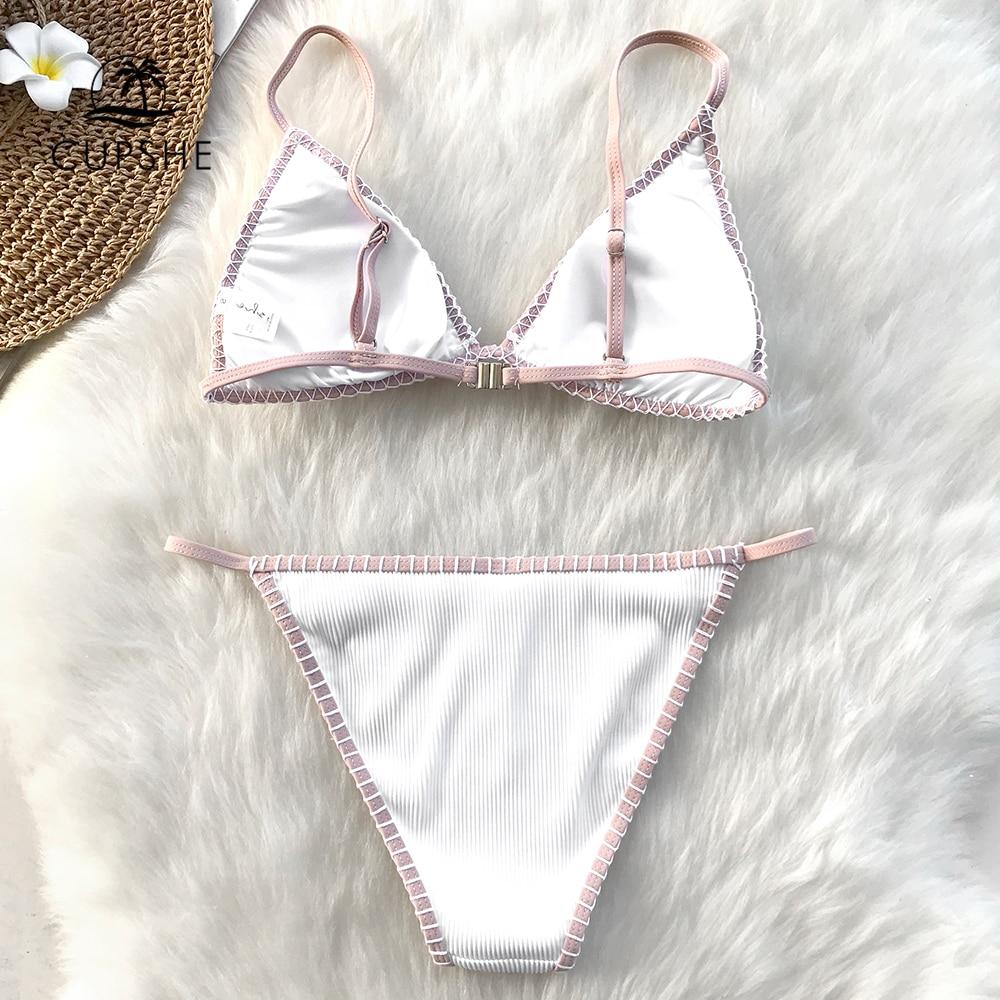 CUPSHE White Triangle Crochet Bikini Set Women Sexy Thong Bikini Two Pieces Swimwear 2020 Girl Beach Bathing Suit Swimsuits 1