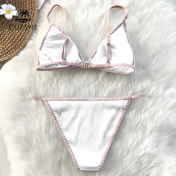 CUPSHE White Triangle Crochet Bikini Set Women Sexy Thong Bikini Two Pieces Swimwear 2020 Girl Beach Bathing Suit Swimsuits 1