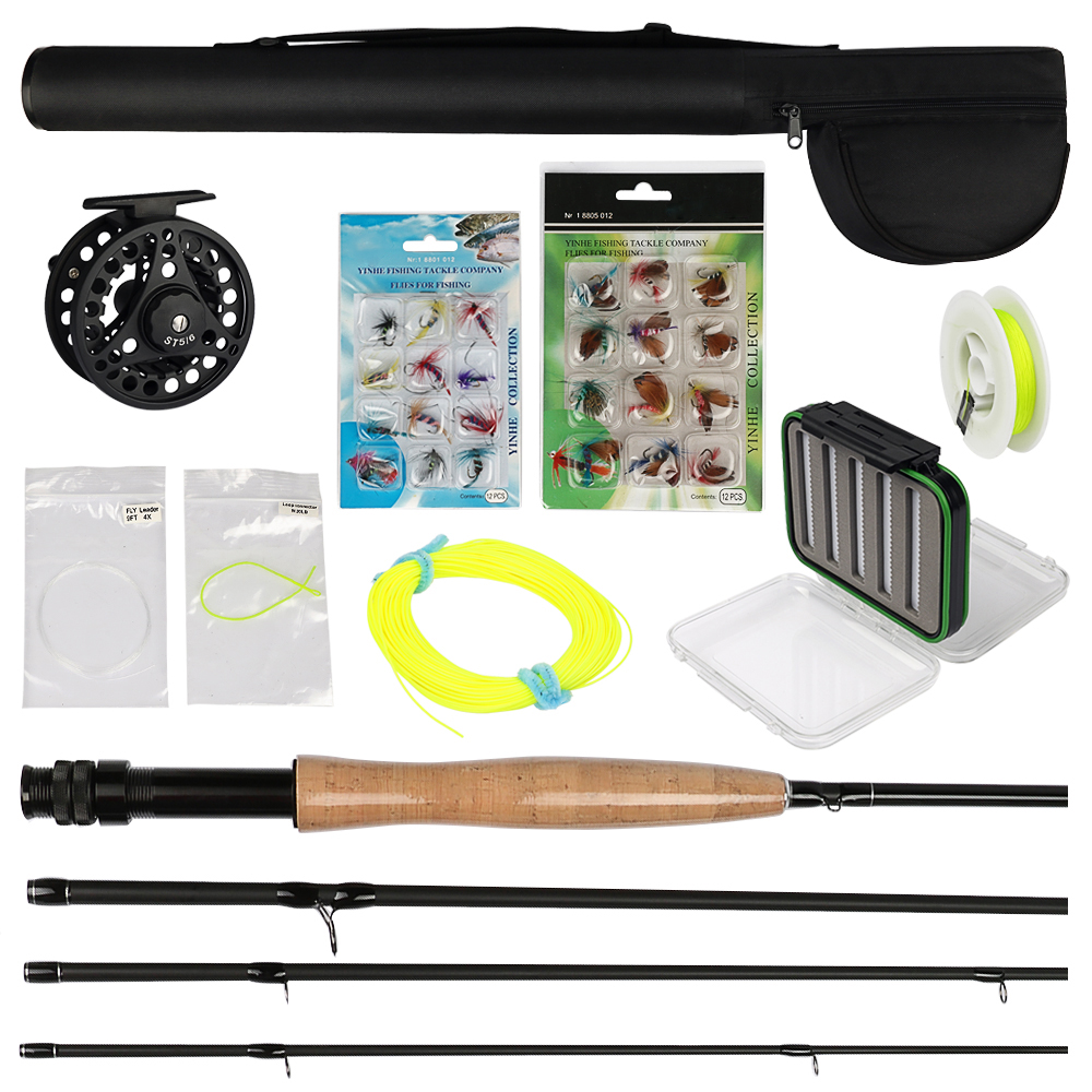 3/4 5/6 7/8 Fly Fishing Rod and Reel Combo with Flies Fly Fishing Line Set Fly Tying Materials maxway 3 4 5 6 7 8 fly fishing set carbon fly fishing rod reel with line files line connector fly fishing rod combo
