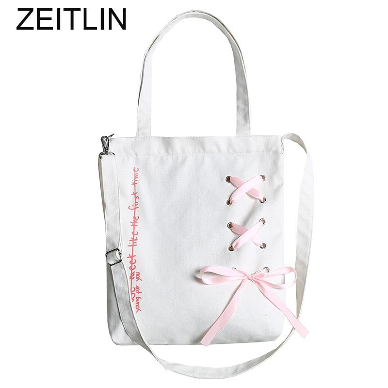 Women Canvas bow ribbon shoulder bag casual simple large capacity handbag two kinds of shoulder straps can choose Sac A Dos S523