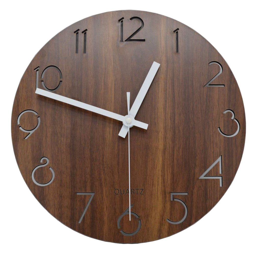 12 inch Creative Wall Clock Vintage Arabic Numeral Design Rustic Country Tuscan Style Wooden Decorative Round Wall Clock 9