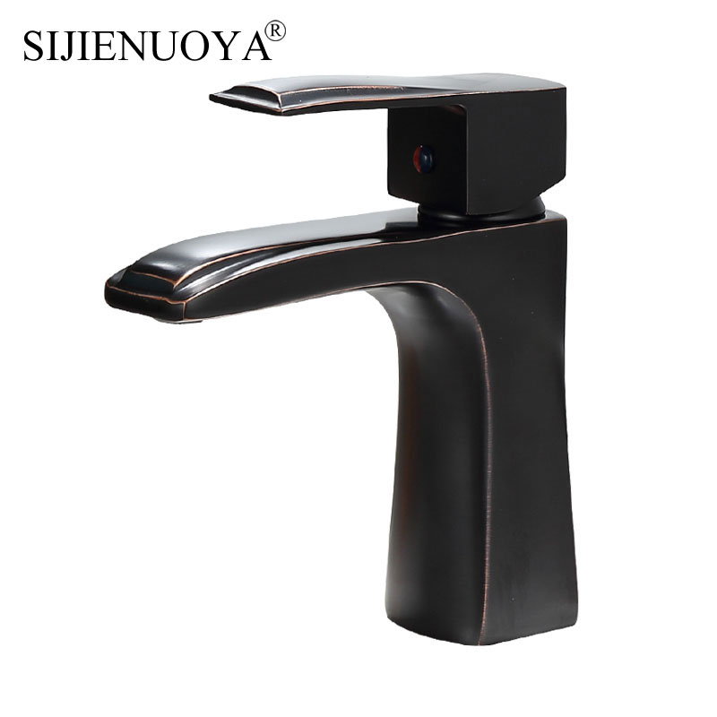 Bathroom Basin Faucet Black ancient Faucet Basin Sink Mixer Tap Deck Mounted Cold and Hot Bathrom Faucet Painting Finish tap black basin faucet europe type restoring ancient ways is the stage basin faucet of the lacquer that bake hot and cold water tap