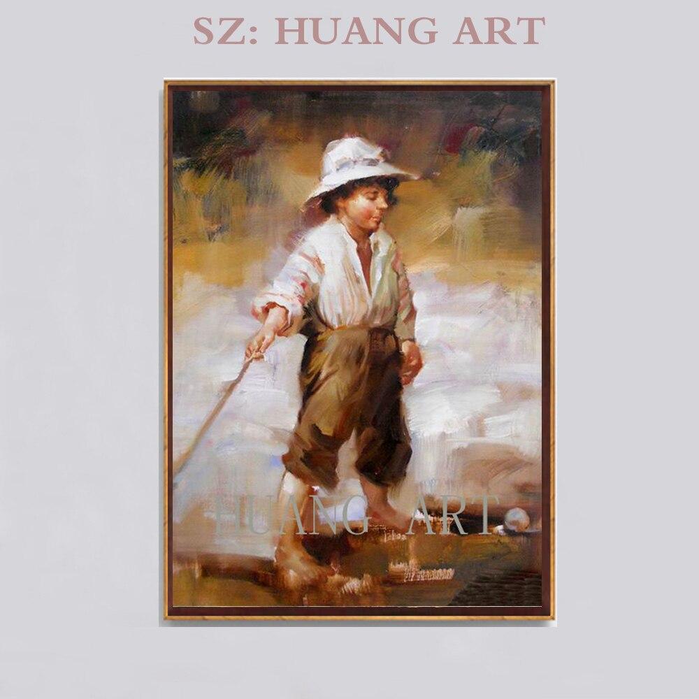 Peinture chinoise art si beau garçon jouant au golf peinture à l'huile toile sur le mur pour décorer les enfants chambre hall centre étude