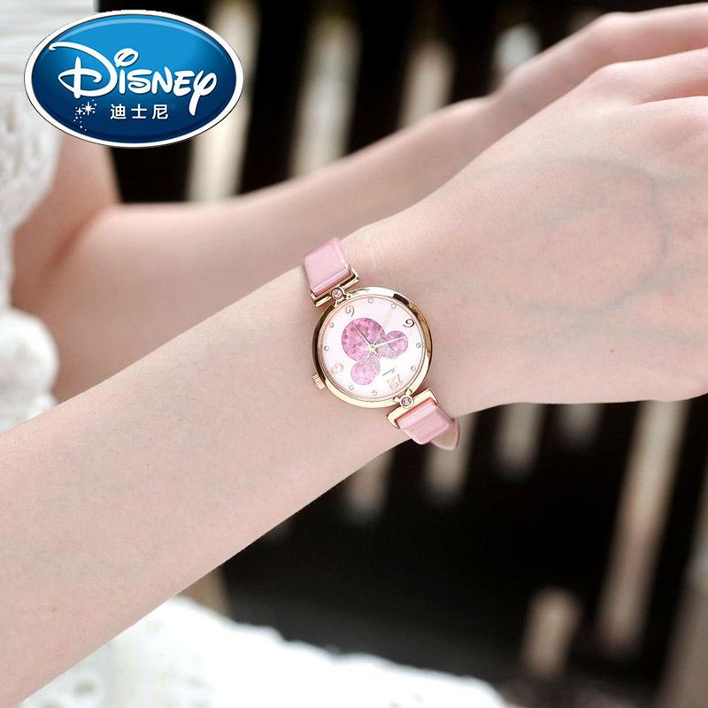 Disney Для женщин прекрасный довольно Smart Минни милашки часы девушка Очень красивые кожаный ремешок кварцевые часы подлинное качество подарок