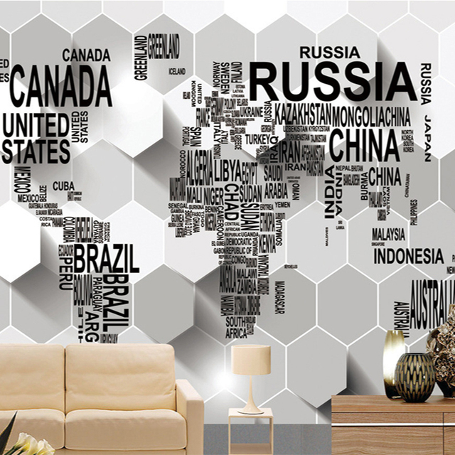 Creative Wallpaper For Walls aliexpress : buy 3d embossed wallpaper english letter world
