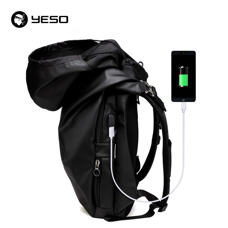 YESO USB Charging Port Waterproof Laptop Backpack with Rain Hat Durable Oxford for Business Men Travel