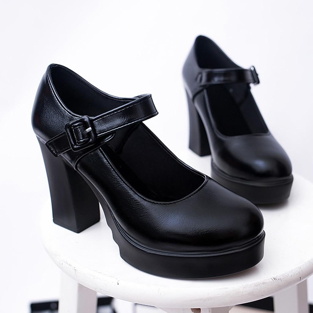 Zapatos Correa Nueva Gruesa b Mujer Tobillo Tacones Plataforma Tacón Alto Mujeres Negro A Hebilla De Las Trabajo Casuales Bombas 2019 0xO8HqtZWw