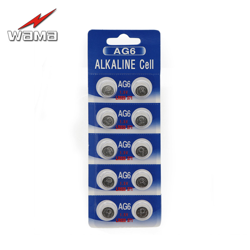 10pcs/pack Wama AG6 1.5V Alkaline Button Cell Batteries SR920SW SR69 SG6 LR69 171 920 Disposable Watch Coin Battery