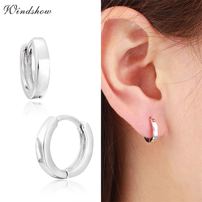 Solid 925 Sterling Silver Plain Earrings Creole Style High Polished Earrings
