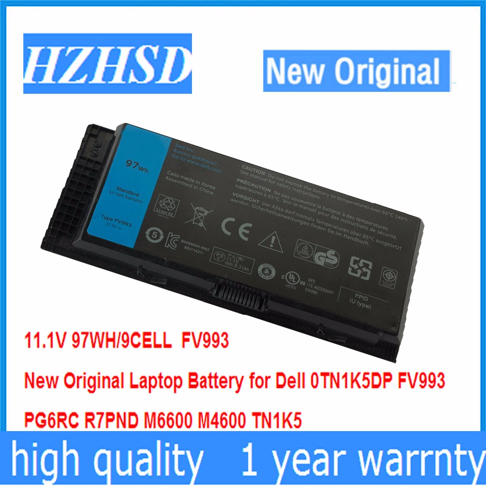 11.1V 11.1v 97WH 9cell New Original Laptop Battery for Dell 0TN1K5DP FV993 PG6RC R7PND M6600 M4600 TN1K5