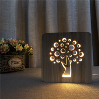 Tree Shape LED Small Table Lamp Creative Novelty Solid 3D Night Lamp Wood Carving Hollow Night Light USB Power Supply