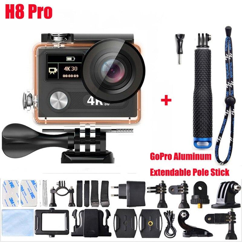H8 Pro Action camera ultra 4K / 30fps Ambarella A12 remote WiFi pro Helmet Cam go Sport camera + Aluminum Extendable Pole Stick