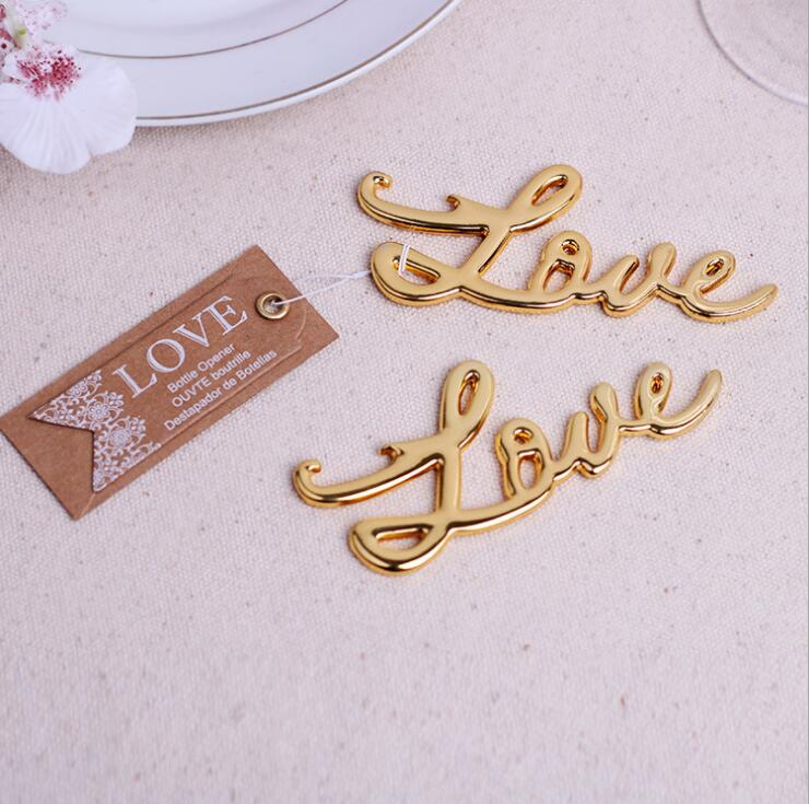 1pcs gold letter love bottle opener wedding favors and gifts event party supplies souvenirs for guests