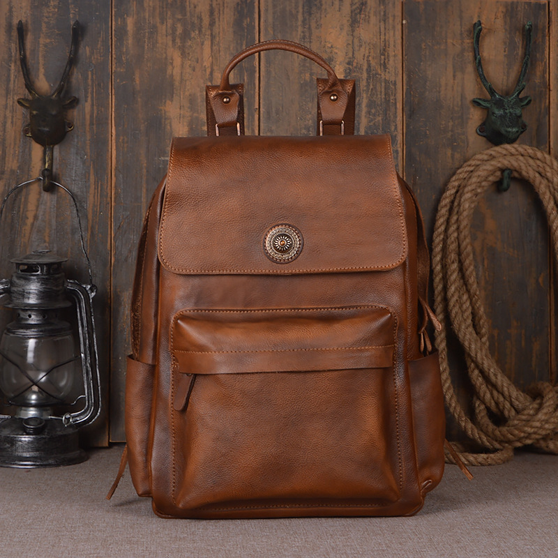 Mens Backpack Black/Brown genuine Leather Travel Bag Men 14-inch Laptop Backbag Male Leisure High Capacity ...