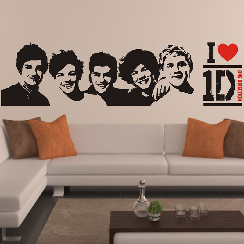 Diy One Direction Wall Decor : Removable diy one direction d wall stickers living rooms