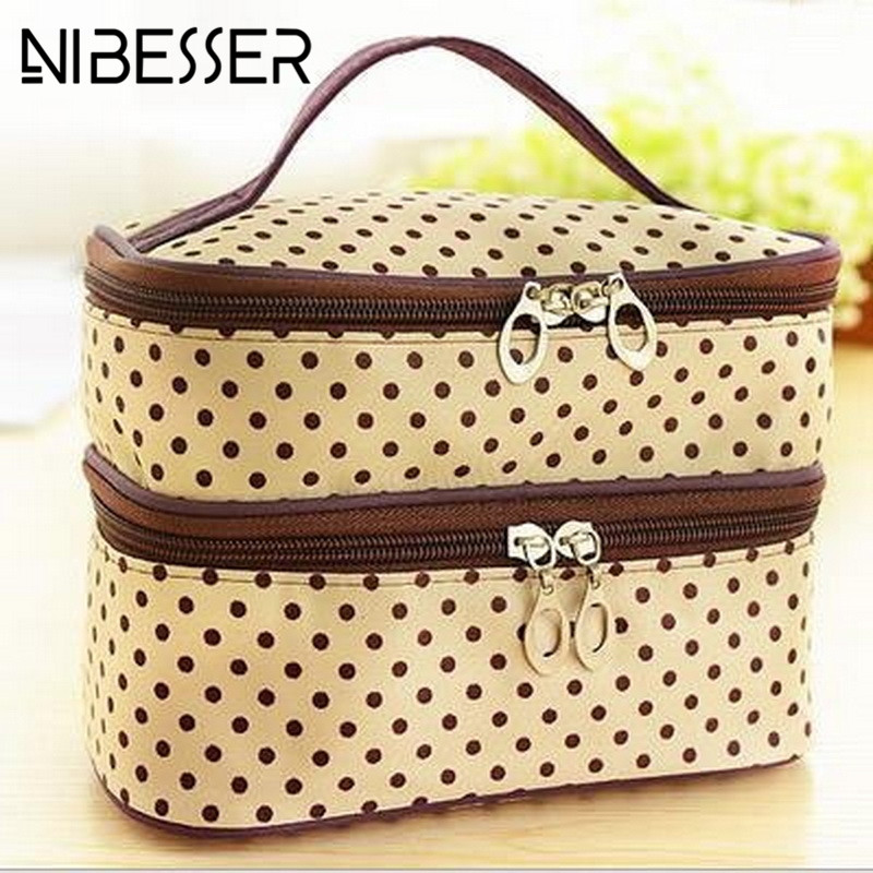 NIBESSER Fahion Double Zipper Cosmetic Bag Mini Dots Makeup Tool Storage Bag Multifunctional Toiletry Wash Storage Beauty Pouch clothing set girls clothing sets sport suit children jacket kids tracksuit for girls clothes suit children clothes child set