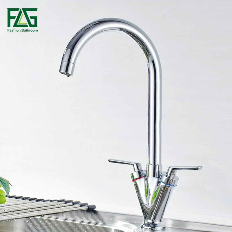 FLG Kitchen Faucet Brass Chrome Cold and Hot Water Mixer Tap Dual Handle 360 Rotation Kitchen Sink Faucet Torneira Cozinha цена