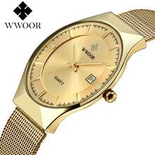 Relojes 2019 relógio masculino wwoor moda relógio de quartzo dos homens relógios da marca superior de luxo ultra fino relógios para homem relogio masculino