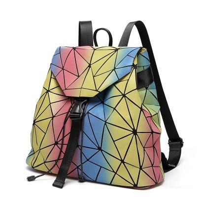 New laser backpack Geometric Shoulder Bag Student's School Bag Hologram Luminous backpack Laser Rainbow Color BaoBao backpack diabolik lovers anime backpack comic shoulder luminous bag new wtag