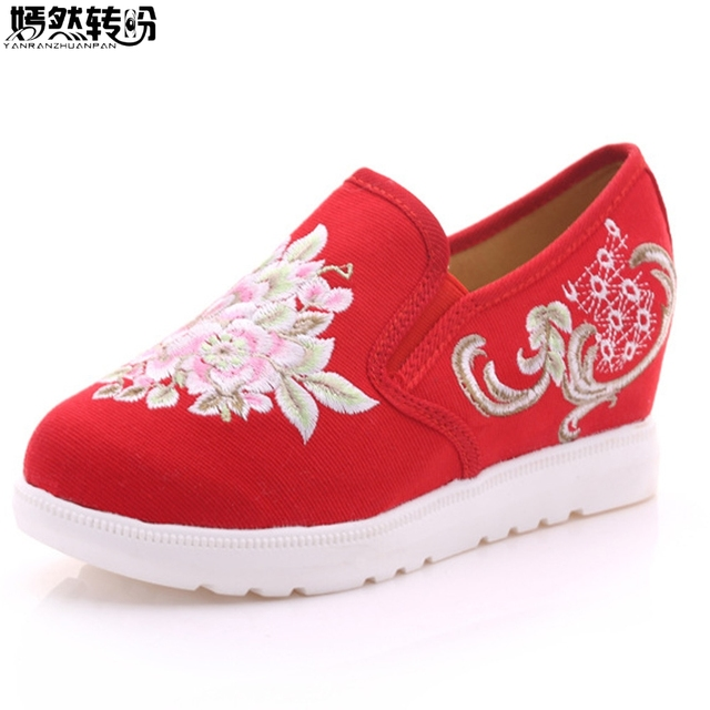 Vintage Women Shoes Embroidery Pumps Floral Casual Canvas Loafers Slip On  Cotton Cloth Platform Shoes Zapatos Mujer Plus Size 41 0af0115ff204