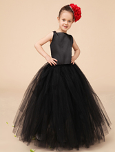 Tribute Silk and tulle black little girls dresses kids girls formal party dresses Pageant dresses headpiece