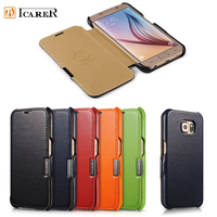 Case For Samsung Galaxy S6 Metal Logo Luxury Genuine Leather Magnetic Flip Case Bag For Samsung
