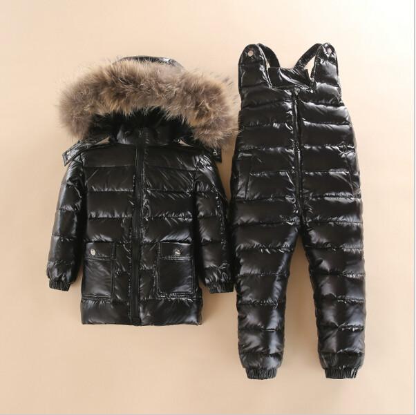 -30 3~5 Y Russian Snowsuit children sets Baby white down Boys Waterproof Clothing Kids Coat Winter jacket for Girls Enfant Parka