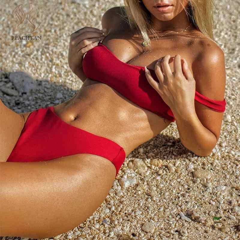 Peachtan rouge taille haute bikini ensemble Bandeau maillot de bain femme Push up maillot de bain femme bikinis 2019 Mujer été baigneurs