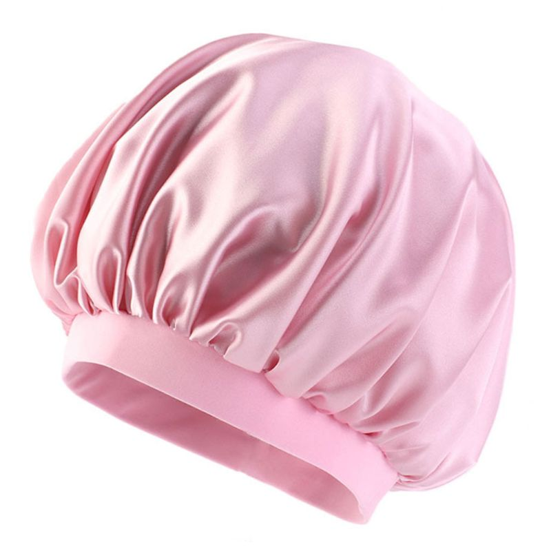 Women Imitation Silk Bonnet Sleeping Cap Sweet Solid Candy Color Wide Elastic Band Hairstyle Head Cover Hair Loss Chemo